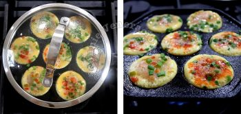 Cooking mini omelettes in aebleskiver pan