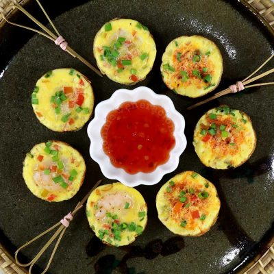 Chiang Mai Street Food-style Mini Omelettes Served with Sweet Chili Sauce for Dipping