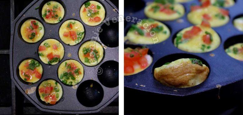 Cooking mini omelettes in takoyaki pan