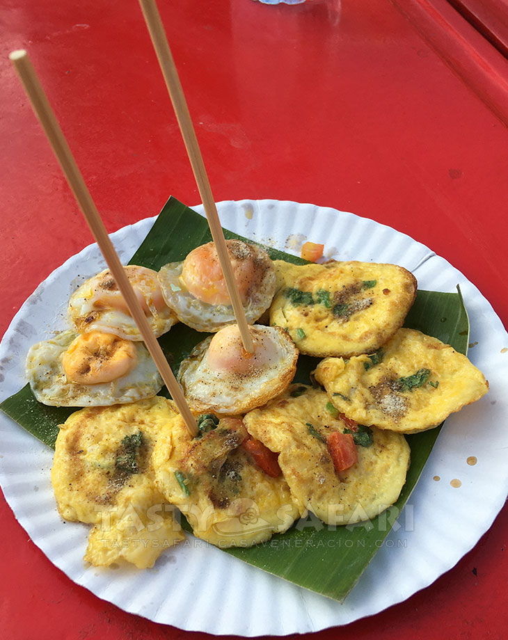 Fried quail eggs and omelet, Chiang Mai Sunday Walking Street
