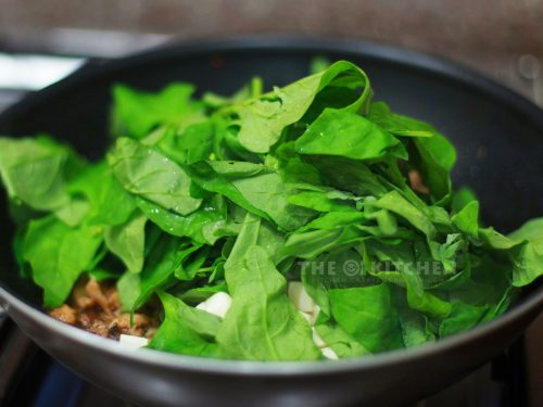 Spinach in a pan