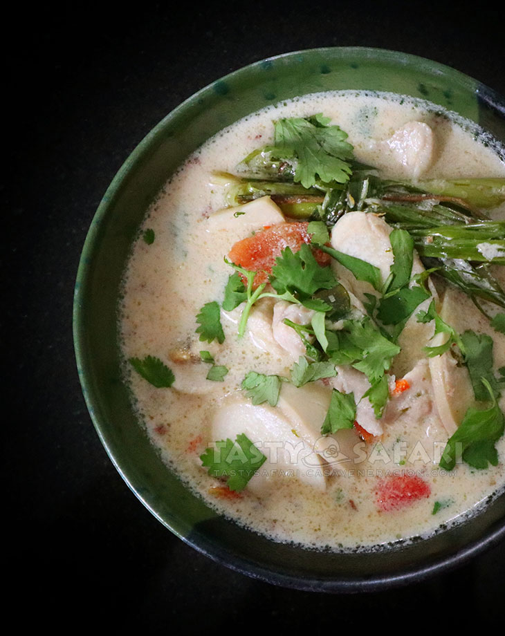 A Bowl of Thai Chicken Coconut Soup (Tom Kha Gai)