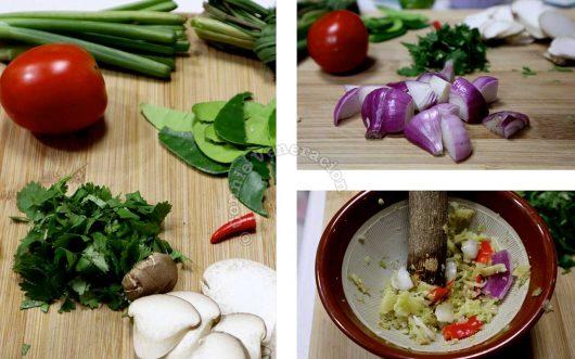 Grinding spice base for tom kha gai