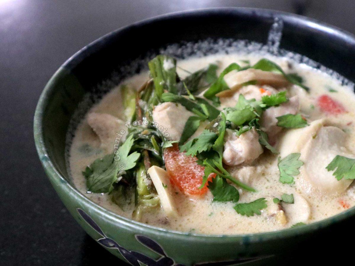 Tom kha gai in green bowl