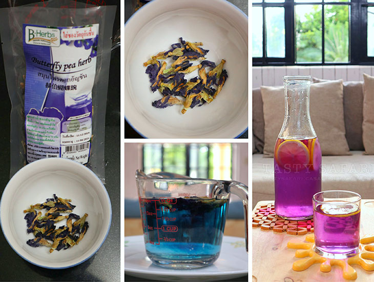 Butterfly pea flowers, and brew (tisane)