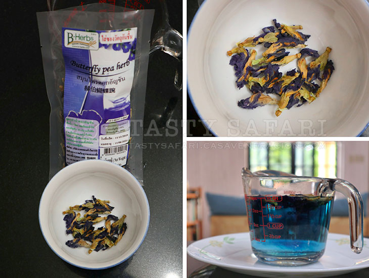 Butterfly pea flowers and tisane