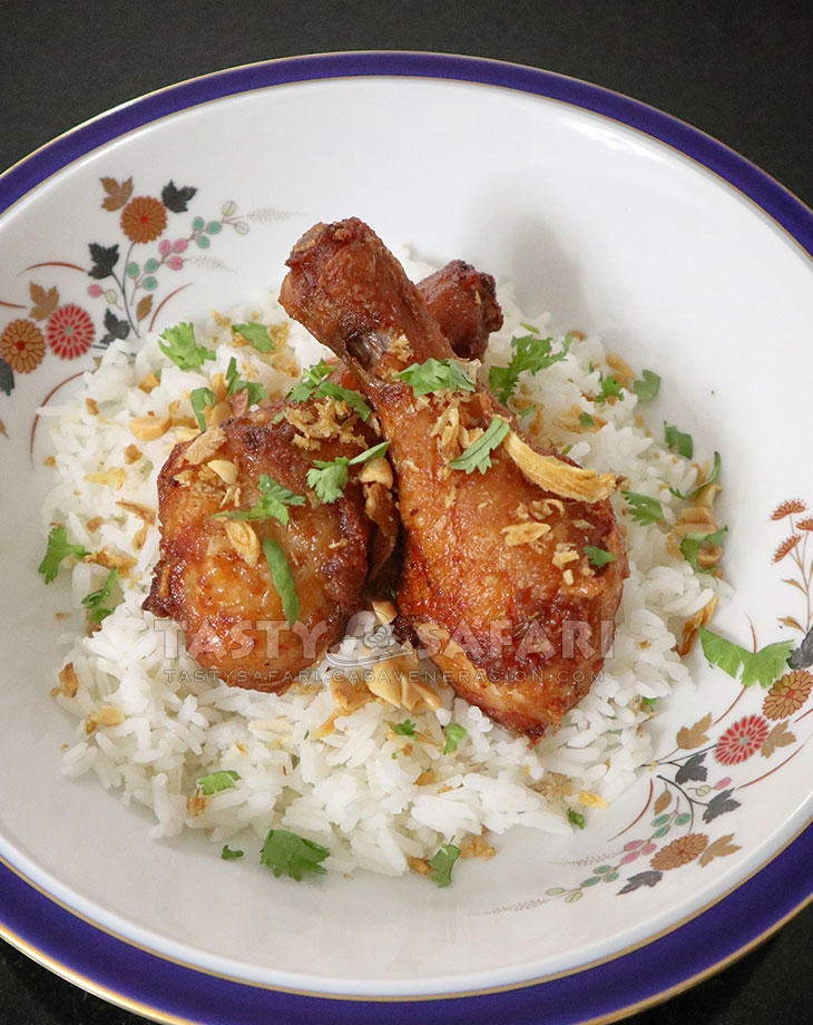 Chiang Mai-style fried chicken over rice