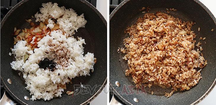 Seasoning rice with kecap manis and tamarind paste to make nasi goreng