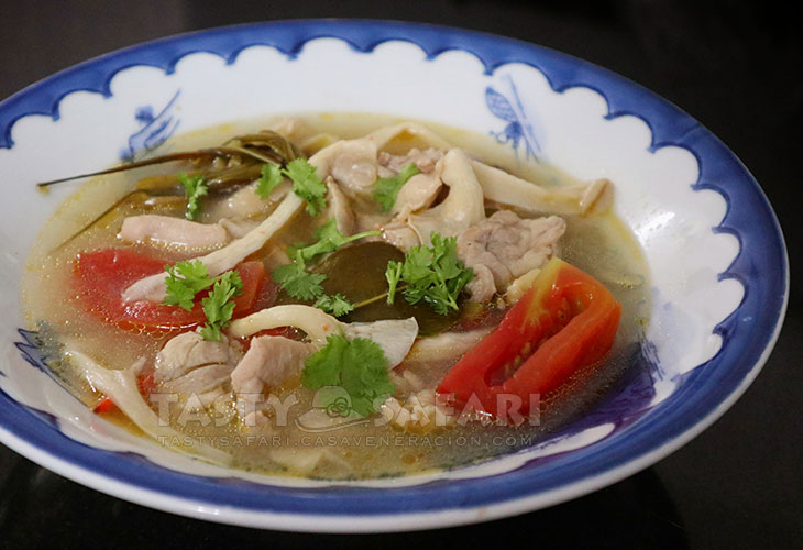 Tom Yum Gai (Thai Hot and Sour Chicken Soup) In Bowl