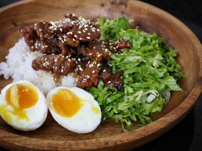 Beef shigureni with eggs, rice and greens