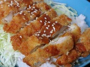 Chicken katsu with shredded cabbage over rice