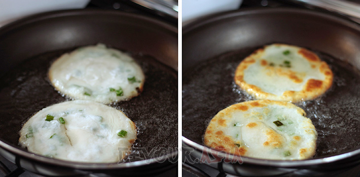 Frying Chinese scallion pancakes in hot oil