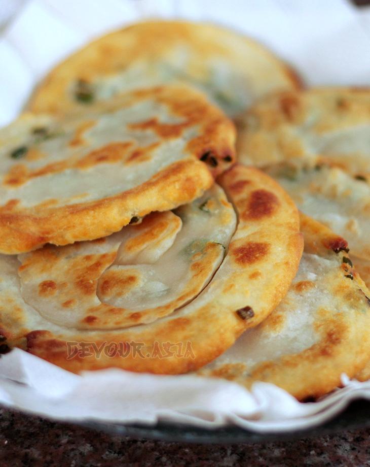 Newly cooked Chinese scallion pancakes