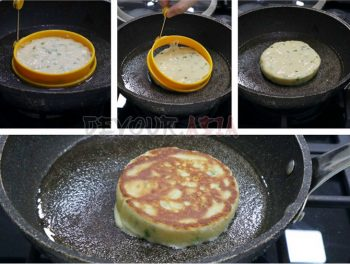 Process of making coconut pancake with scallions