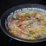 """""""Crab"""" and corn egg drop soup"""