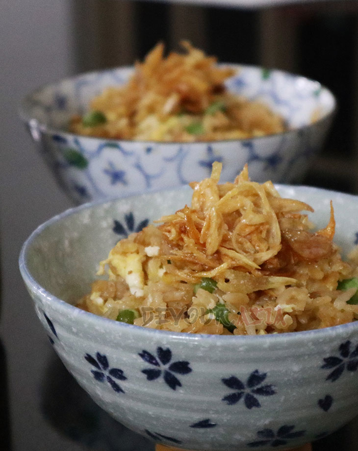 Fried shallot in goose oil over rice