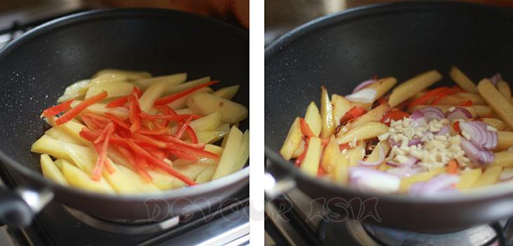 Cooking Gamja bokkeum (Korean stir fried potatoes)