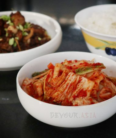 Kimchi, chicken salpicao and rice