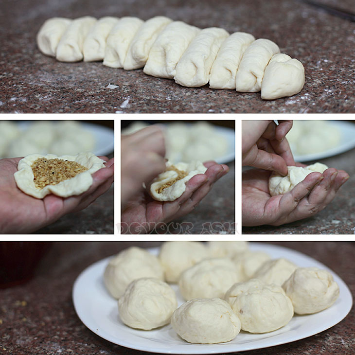 Collage showing how to fill flattened dough with nuts and sugar to make hotteok (hoddeok), Korean sweet pancakes