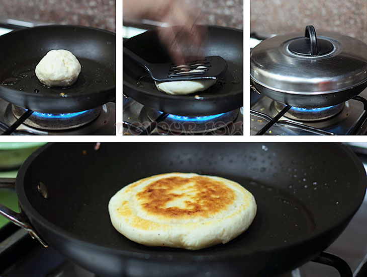 Collage showing the process of frying hotteok (hoddeok), Korean sweet pancake