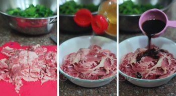 Seasoning the beef or cooking japchae
