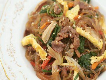 A bowl of japchae, Korean stor fried glass noodles