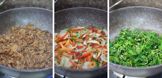 Sauteeing vegetables for japchae