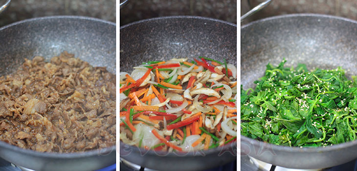 Stir frying beef and vegetables in a wok