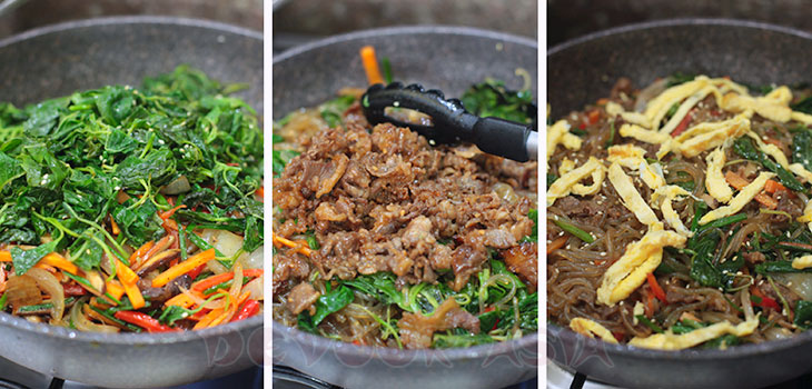 Tossing the noodles, beef and vegetables together to make japchae