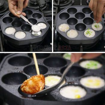 Steps in Cooking Thai Coconut Custard Pancakes (Khanom Khrok)
