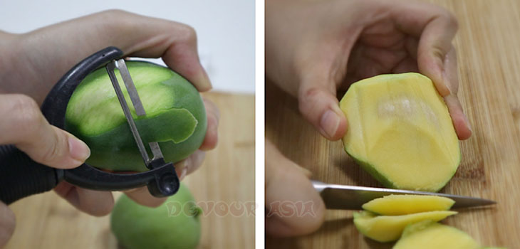 How to peel and cut an unripe mango