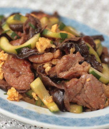 Moo shu pork in a platter