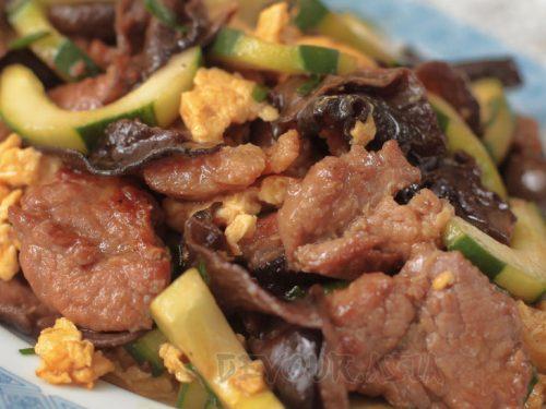Moo shu pork in a platter