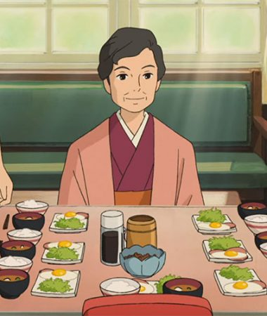"A typical Japanese breakfast of rice, egg and miso soup at the Coquelicot Manor in ""From Up on Poppy Hill"" 