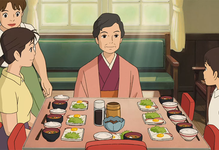 """A typical Japanese breakfast of rice, egg and miso soup at the Coquelicot Manor in """"From Up on Poppy Hill"""" 