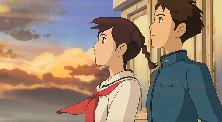 """Umi and Shun looking up at Poppy Hill from a boat in """"From Up on Poppy Hill"""" 