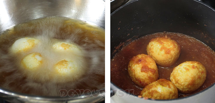 Deep frying hard-boiled eggs then simmering them in sambal