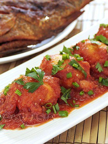 Sambal eggs and fried tilapia