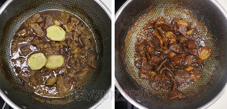 Beef in wok with sauce and ginger slices