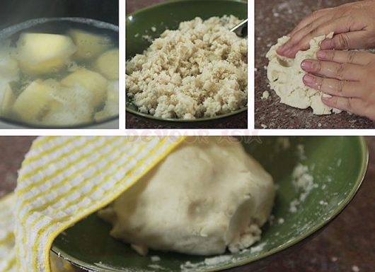 Boiling, mashing and kneading taro