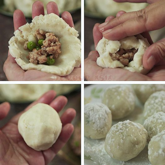 Stuffing rolled taro with cooked ground pork