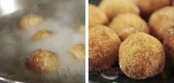 Deep frying taro puffs until golden and crisp