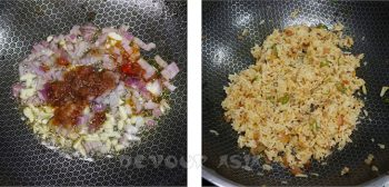 Cooking chili shrimp paste fried rice in a wok