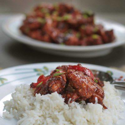 Dragon chicken over rice