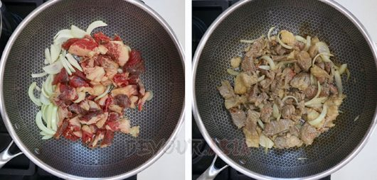 Browning beef and onion in a wok