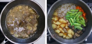 Beef and vegetables cooking in dashi, soy sauce, sake and mirin