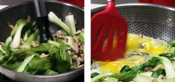 Stir frying meat and vegetables in a wok