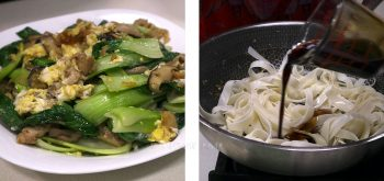 Adding seasoning to noodles in a wok