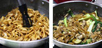 Stir frying pad see ew in a wok