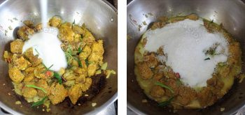 Adding coconut milk | cooking pork rendang